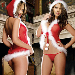 Wholesale Sexy Costumes Wholesale Europe - Europe and the United States Christmas lingerie perspective gauze Christmas Christmas girls sexy costumes