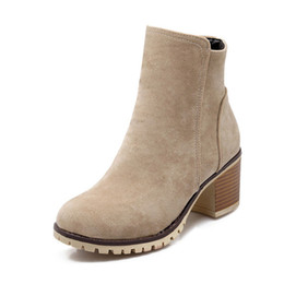 Wholesale Shoes Rough - Wholesale-Autumn Rough Female Thick Heel side Zipper Boots Plus Size Genuine Nubuck Leather Women's Ankle Boot Fashion Short Martin Shoes