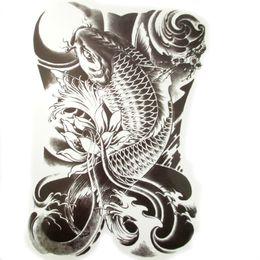 Wholesale Temporary Eye Tattoo Designs - 34x48cm Large full backcarp Tattoos Men and Women Waterproof Big fish Temporary Tattoo Stickers Fake Tattoo Designs
