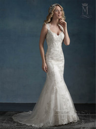 Wholesale Dramatic Train Wedding Dress - Dramatic Keyholds Wedding Dresses 2017 Mary's Bridal with Lace Hem and Sweetheart Neckline Appliques Tulle Trumpet Bridal Gowns Custom Made