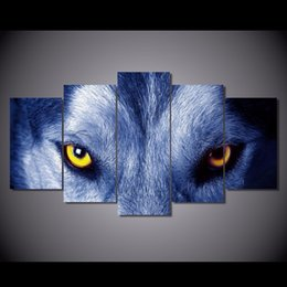Wholesale Modern Large Canvas Oil Paintings - Wholesale Modern Wolf Eyes Canvas Wall Decoration Animals Living Room Decor Large Size Wall Stiker Pictures Painting Unframed