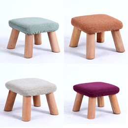 Wholesale Furniture Dining Rooms - wooden dining chair cotton fabric coffee chair Wooden Home Furniture small Baby Stool Portable Stool living room furniture