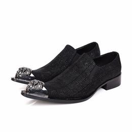 Wholesale Charming Black Men Dress Shoes - Fashion Metal Charm Genuine Leather Men Dress Shoes Pointed Toe Plaid Wedding Business Formal Italian Men Shoes Black Plus Size
