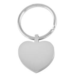 Llaves en blanco de acero inoxidable online-IJK0040 Corazón de acero inoxidable Llavero en blanco Llavero grabable funerario