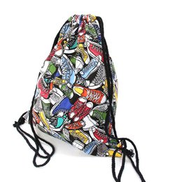 Wholesale Types Girl Backpacks - Girls School Shoes Bags Women Cotton Hamburg Shoes Printing Drawstring Backpack Travel Shoulders Shoes Bags Storage Bags