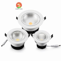 Wholesale Dimmable Led Spot Ceiling - Super Bright Recessed LED COB Downlight Dimmable 5W 7W 12W LED Spot light LED Ceiling Lamp AC 85-265V Cold White \ Warm White