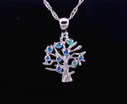 Wholesale Mexican Fire Opal Necklace - Wholesale & Retail Fashion Jewelry Fine Blue Fire Opal Blue Tree Stone Sterling Sliver Pendants For Women PJ17082715