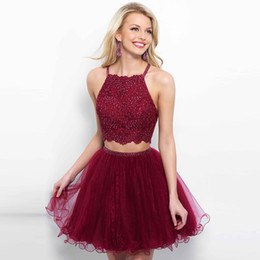 Wholesale Tow Pieces - Burgundy Spaghetti Straps Beaded Tow Piece Homecoming Dress Appliqued Tulle Over Lace Short Junior Homecoming Party Dresses ADH003