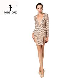 Wholesale Grid Floor - Wholesale- Missord 2017 Sexy Deep-V long sleeve grid sequin split dress FT4657