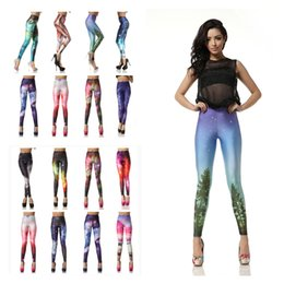 Wholesale Galaxy Style Leggings - 32 Colors Glitter Leggings 3d Print Galaxy Blue Women's Fitness Casual Style Elastic Silm Pants Trousers Ropa Mujer High Quality