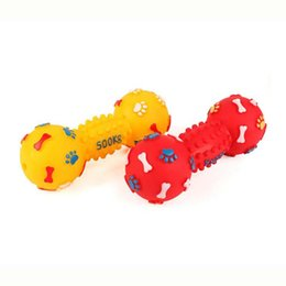 Wholesale Plastic Dog Bone Toy - Dog Toys Colorful Dotted Dumbbell Shaped Dog Toys Squeeze Squeaky Faux Bone Pet Chew Toys For Dogs Free Shipping