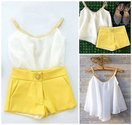Wholesale Chiffon Shirts For Kids - Wholesale- 2016 Summer Newest Baby Kids Girls Sun Chiffon Top Shirt+Hot Pants Shorts Outfits Clothes for 2-11Y