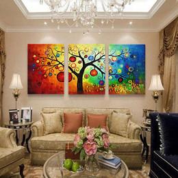 Peint à la main à bas prix coloriage apple tree coloré vie arbre toile art photo pour la décoration de maison moderne peintures murales ? partir de fabricateur