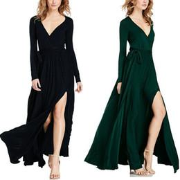 Wholesale Drawstring Dress Women - New Fashion Women Cotton Solid Long Dress Bohemian Deep V Neck Long Sleeve Maxi Clothes Belt Drawstring Long Maxi Dress Floor Length YD1096