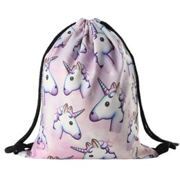 Wholesale Japanese School Bag Wholesale - Wholesale- unicorn Drawstring Bags and backpack from hip-hop Japanese Harajuku Retro Cinch Sack Pack School Kids Mens Bag BPC39