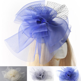 Wholesale African Feather Hat - HOT Fashion Lady Woman Girl Large Fascinator Feather Net Hat Hair Clip Wedding Party Decor Races Proms Handmade Gift