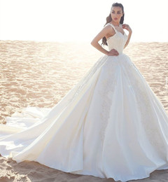 Wholesale Italy Trains - Said Mhamad Ball Gown Wedding Dresses 2017 Straps Sleeveless Lace Appliques Arabic Russian Italy Winter Bridal Gowns Wedding Dress