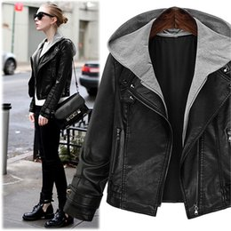 Wholesale Short Leather Jacket Hood - Women's Black Hooded Faux Leather Motorcycle Bomber Jacket with Zipper Autumn Winter PU Leather Coat Plus Size Moto Jacket with Hood