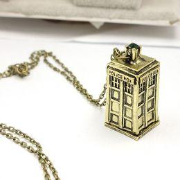 colar de chave de fenda sônica Desconto Doctor Who Tardis Tempo Senhor Pingente de Colar Sonic Chave De Fenda Púbica Caixa de Caixa De Ouro Antigo Para As Mulheres Homens Frete Grátis