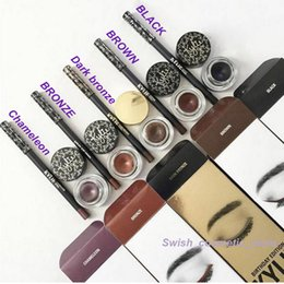 Wholesale Eyebrow Kits - New 5 color Kylie Jenner Kyliner Gel Eyeliner Eyebrow Liner Kit Black  Brwon Chameleon Bronze Darkbronze(1 set =eyeliner+brush +cream)
