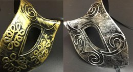 Wholesale Roman Costumes For Women - Costume Party Mask Men's retro Greco-Roman Gladiator masquerade masks Vintage Golden Silver Mask silver Carnival Mask Halloween