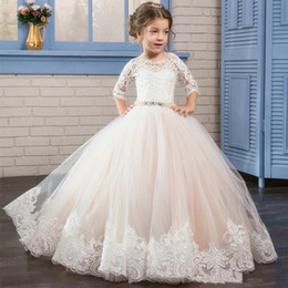Wholesale Kids Custom Made Vest - Custom Made 2017 Puffy Kids Prom Graduation Holy Communion Dresses Half Sleeves Long Pageant Ball Gown Dresses For Little Flower Girl Dress