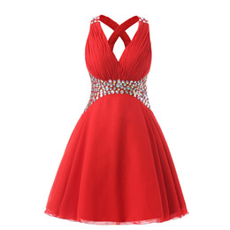 Wholesale Art Models Photos - Short Red Prom Dresses 2017 Crystals Beaded Pleated Cheap Teens Homecoming Party Dress 8th Grade Graduation Dress Gowns Real Photo