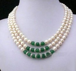 Wholesale Pearls Black Jade - 7-8MM Natural White Akoya Cultured Pearl & Green Jade Hand Knotted necklace