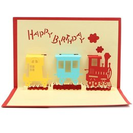 Wholesale Invitations Anniversary - Wholesale-2Pcs Pop Up 3D Train Luxury Handmade Greeting Cards Invitations Brithday Party Postcards Anniversary Paper Festival Gifts