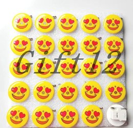 Wholesale Light Brooches - New 50 pcs Popular Cartoon Smiling face Flashing LED Light Up Badge Brooch Pins Party