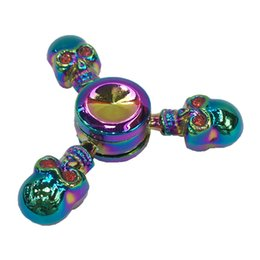 Wholesale Skull Arm - Tri-Spinner Fidget Spinner Rainbow Color Skull Head Hand Spinner Skeleton Metal Zinc Alloy EDC Fingertips 3 Arms DHL Fast Ship Big Prom