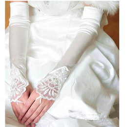 Wholesale Elbow Length Gloves Red Black - 2017 Newest Elow Length Wedding Gloves White Fingerless Satin Lace Applique Wedding Dress Accessories Bridal Gloves