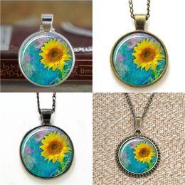 Wholesale Sunflower Paintings - 10pcs Sunflower Botanal Painting Jewelry Necklace keyring bookmark cufflink earring bracelet