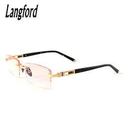 95d29c2fe0 Wholesale- frameless eyeglass frames gold eyeglass frames for men rimless  spectacle frames designs Luxury Diamond Cutting Lenses myopia