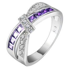 оптовые кольца стерлингового серебра Скидка Крест палец кольцо для леди проложили cz Циркон роскошные горячая Принцесса женщины обручальное кольцо фиолетовый розовый цвет ювелирные изделия
