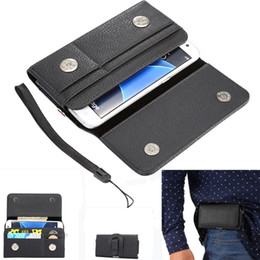 Wholesale Iphone Holder Belt Clip - Holster Holder Belt Clip Luxury Carrying Leather Pouch Cover Litchi Leechee Pattern Wallet Case For Samsung for iphone 7 plus 6s Skin Cover
