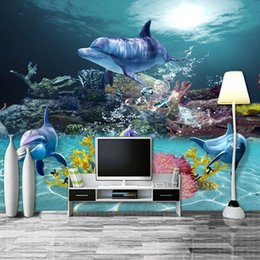 Wholesale Mediterranean Sea Painting - Wholesale- Custom Photo Wallpaper Mediterranean Style 3D Sea World Coral Dolphin Home Decor Wall Painting Living Room TV Backdrop Wallpaper