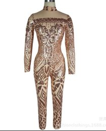 Wholesale Cut Out Saw - Grenadine sequins female new sexy Hollow bodysuit costumes See-through jumpsuit dress singer dancer party studio shooting model catwalk show