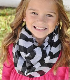 Wholesale Chevron Polyester Infinity Scarf - Wholesale- 16 Colors Chevron Wave Print Infinity Scarf New Fashion Girls Kids Stripe Loop Ring Scarves Accessories 10pcs lot 00030