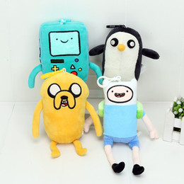 Wholesale Beemo Plush - 4pcs lot 13-21cm Adventure Time pendant Finn Jake BMO Beemo Gunter Penguin Plush Toys Stuffed Toy Animal Doll keyrings