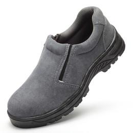 Wholesale Blue Suede Shoes Comfort - Wholesale-men's fashion work protective dress steel toe caps safety shoes soft comfort suede leather platform shoe slip on women boots