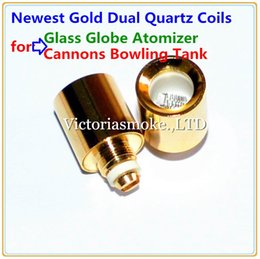 Wholesale Update Gold - Updated Gold Dual Quartz Coils replacement for glass globe wax dry herb vaporizers ShiSha water Cannons Bowling Atomizer Dual Wax Coil Head