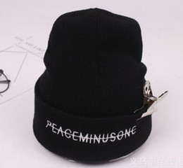 Wholesale New K pop BigBang GD non Beanie Letter Embroidery Wool Cap knitted autumn winter warm men skull chunky hat women casual hip hop street
