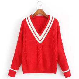 Wholesale Stripe Long Sweater Slim - New Spring Autumn Europe US Fashion Stripe VNeck Slim Casual Women Sweater long Sleeve Twist Crochet Pullover good Quality knit Sweater