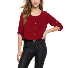 Wholesale Office Wear Tops Blouses - Women Shirt Chiffon Blusas Tops Summer Spring Casual Office Work Wear Ladies Round Neck Half Sleeve Chiffon Blouse