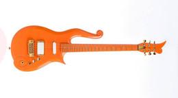 Wholesale Diamond Guitar - Rare Schecter Diamond Series Prince Orange Cloud Electric Guitar Gold Hardware Deluxe Purple Crocodile Leather Hardcase Red Inner