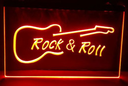 Wholesale led light guitar - Rock and Roll Guitar Music NEW beer bar pub club 3d signs led neon light sign