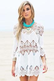 Wholesale Cover Up Swimsuit Shirt Dresses - Beach Bikini Cover Up Swimsuit Lace Hollow Crochet 3 4 Sleeve Women Tops Swimwear Beach Dress White Beach Tunic Shirt 2506099
