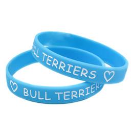 Wholesale Coloured Wristbands - Hot Sell 1PC Ink-Filled Colour Love Bull Terriers Latex-Free Silicone Wristband, Great For Give Away Gift