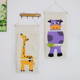 Wholesale Wholesale Garage Storage Container - Storage Bag Wall Hanging Style Cartoon Animal Giraffe Flamingo Cow Cloth Pouch Three Layers Sundries Container Home Decor 9 5naa F R